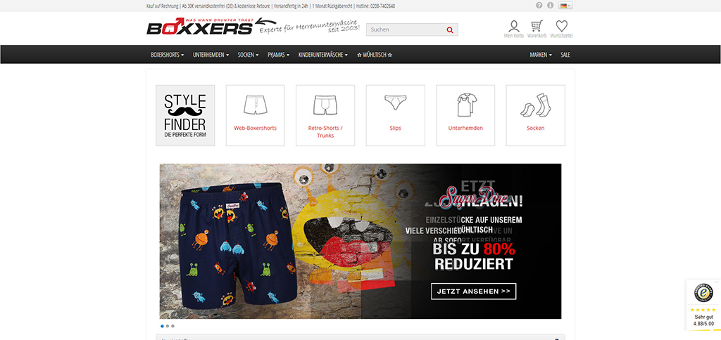 Webshop Referenz von liquid pixels - IT Services - Bottrop